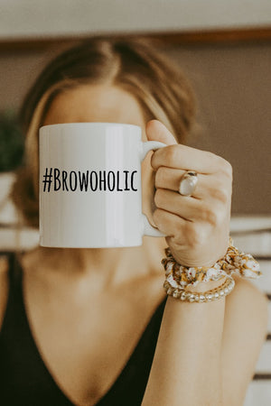 White Browoholic Mug