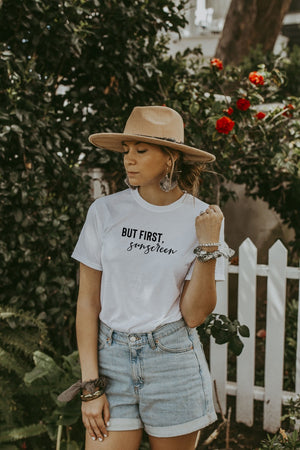 Women's White But First, Sunscreen Shirt