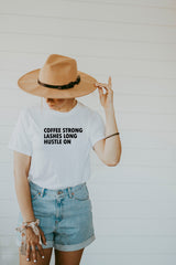 Women's White Coffee Strong Lashes Long Hustle On Shirt