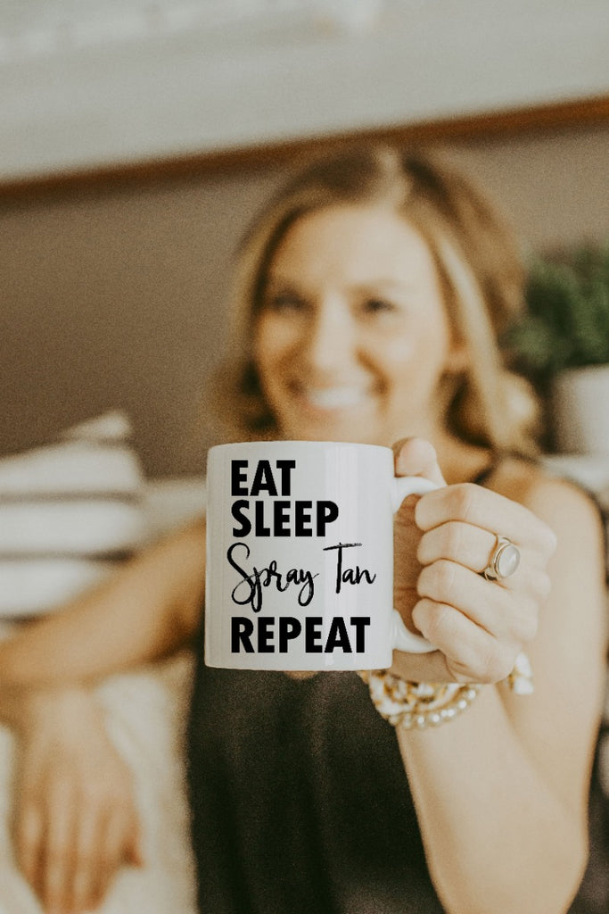 White Eat Sleep Spray Tan Repeat Mug