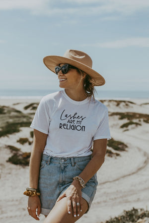 Women's White Lashes Are My Religion Shirt