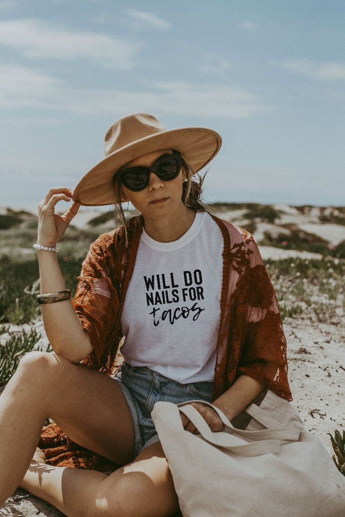 Women's White Will Do Nails For Tacos Shirt