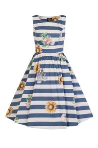 Blue Striped Sunflower Dress - Isabel's Retro & Vintage Clothing