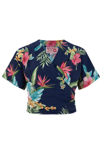 "The ""Darla"" Short Sleeve Wrap Blouse in Navy Honolulu Print - Isabel's Retro & Vintage Clothing"