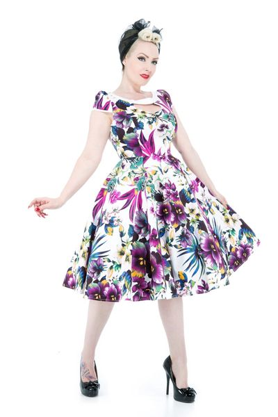 White Purple Pansies Floral Swing Dress - Isabel's Retro & Vintage Clothing