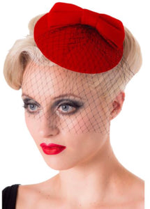 Red Bow hat - Isabel's Retro & Vintage Clothing