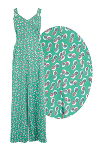"""Lana"" Jump Suit in Green Abstract Polka Print, Perfect 1950s Vintage Style - Isabel's Retro & Vintage Clothing"