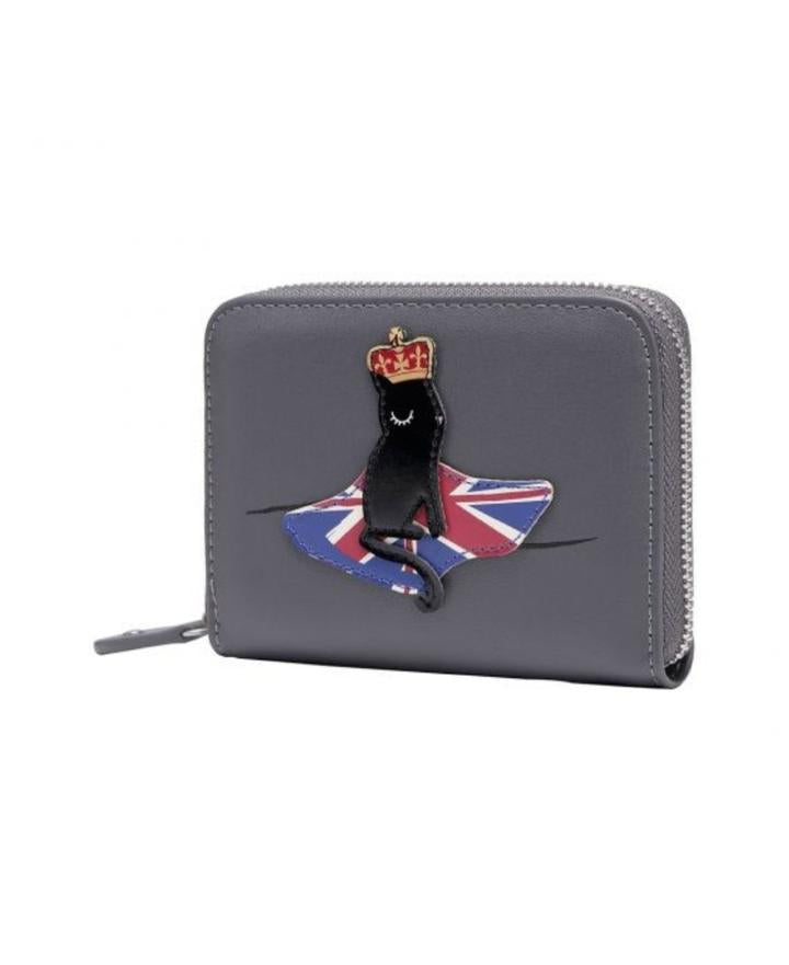 London Cats Small Zip Around Wallet - Grey - Isabel's Retro & Vintage Clothing