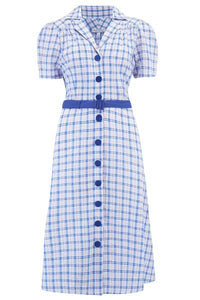 Blue Check Shirt Dress - Isabel's Retro & Vintage Clothing