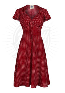 1940s Polka Dot Dress In Red - Isabel's Retro & Vintage Clothing