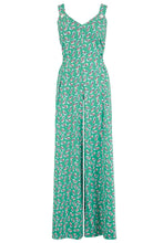 "Load image into Gallery viewer, ""Lana"" Jump Suit in Green Abstract Polka Print, Perfect 1950s Vintage Style - Isabel's Retro & Vintage Clothing"