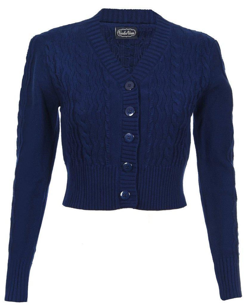 Mabel Cropped cardigan in blue - Isabel's Retro & Vintage Clothing