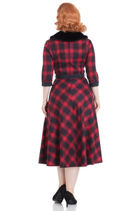 Lola Tartan Flare Dress With Fur Collar - Isabel's Retro & Vintage Clothing
