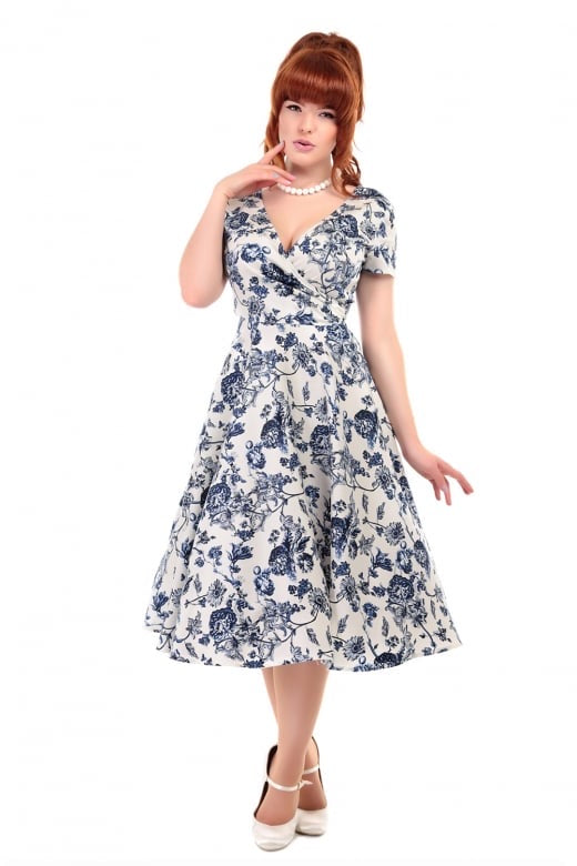 Maria Toile Floral Print Swing Dress - Isabel's Retro & Vintage Clothing