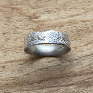Wide Textured Silver Band