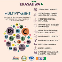 Krasaliwa Multivitamin & Minerals Tablets with Grape seed Extract, Biotin, Zinc and more for complete health.