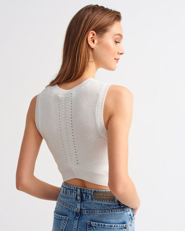 Back Detailed Crop Top - White