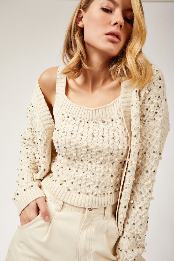 Knitted Suit With Pearl