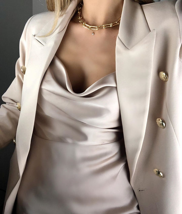 Blazer Jacket With Gold Button Details - Nude