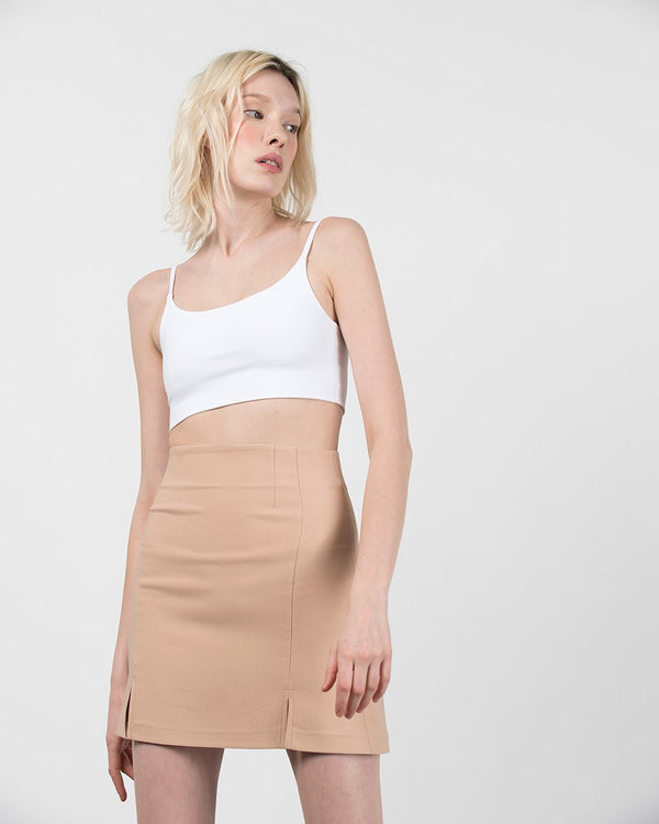 Double Slit Mini Skirt - Nude