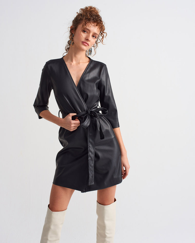 Belt Detailed Leather Dress - Black