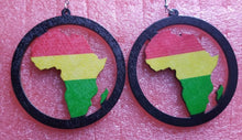 Load image into Gallery viewer, African Map Rasta Red Yellow Green Wood Fashion Drop Round Dangle Earrings#1 ~$5