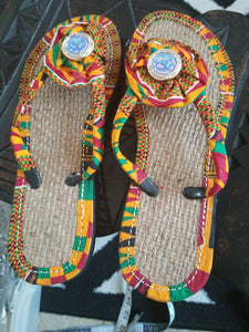Handmade Kente Slippers with Denim Accents~Size 10.5M(fits US Size 9M-9.5M~$25