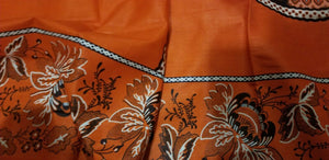 African Print With OrangeBackground And Bold Circular Motif Details 4yards
