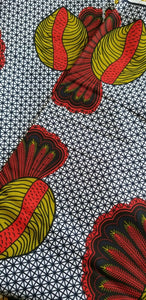 MULTICOLOR African Print 100% Cotton (snails ~fruitful)3yrds ×(44 in.) ~$15.25