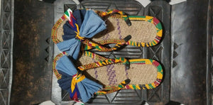 Handmade Kente Slippers with Denim Accents~Size 10.5(fits US Size 9-9.5~$25