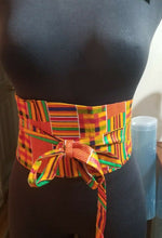 Load image into Gallery viewer, African PRINT WIDE BELT wrap&Tie( Kente)