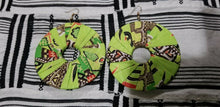 Load image into Gallery viewer, Lime Green MultiAfrican Print  Round Earrings $5