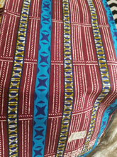 "Load image into Gallery viewer, Blue MULTICOLOR African Wax Print 100% Cotton Fabric ~4yards,44"" INCHES"