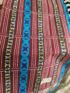 "Blue MULTICOLOR African Wax Print 100% Cotton Fabric ~4yards,44"" INCHES"