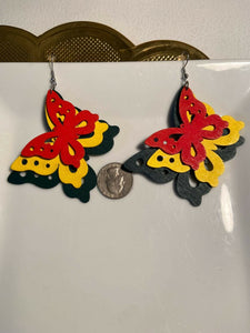 Tri color Wooden African Earrings  ~ $6 Ships Free