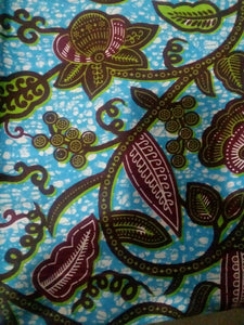 Turquoise Multi African Print 100% Cotton Fabric 2yard×46inches~ $12