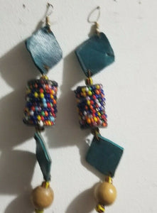 Handmade Leather and beads African Earrings$8.99