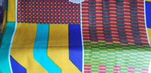 "Load image into Gallery viewer, High Sheen kente Print  100% Cotton Fabric ~71""×23"""