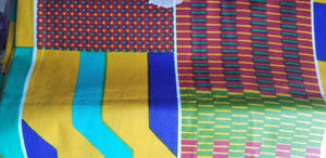 "High Sheen kente Print  100% Cotton Fabric ~71""×23"""
