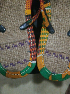 Handmade Kente Slippers with Denim Accents~Size 10M(fits US Size 9M)~$25
