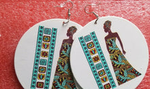 Load image into Gallery viewer, Painted lady wooden Drop Round Dangle Earrings#1 ~$6