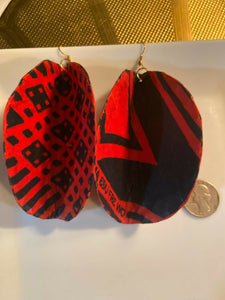 African Print Butterfly Earrings Red~ $12 Ships Free
