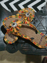 Load image into Gallery viewer, Handmade Kente Slippers with Denim Accents~Size 10M(fits US Size 9M)~$25