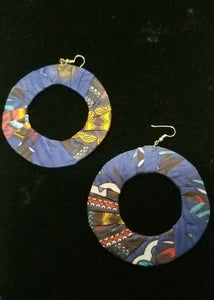 Blue Multi African Print Round Earrings $5