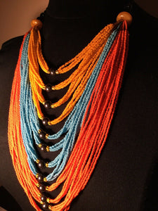 Assorted Mali Multi Strand African Beaded Necklace~check Description