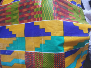 "Kente Print African Wax Print 100% Cotton Fabric ~ 5yds and 33.5""×43""--$30"