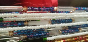 "African Waist Beads(Green Crystal and Green accentBeads on White )(.46""-53"")"