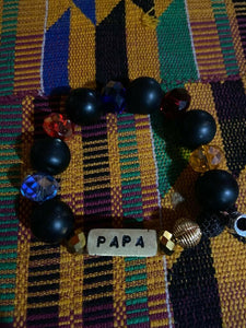 African Krobo  Glass Beads Handmade Traditional Name Bracelet from Ghana~Papa~