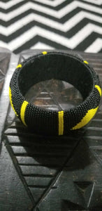 Yellow and Black Diamond Cut beaded Bangle style
