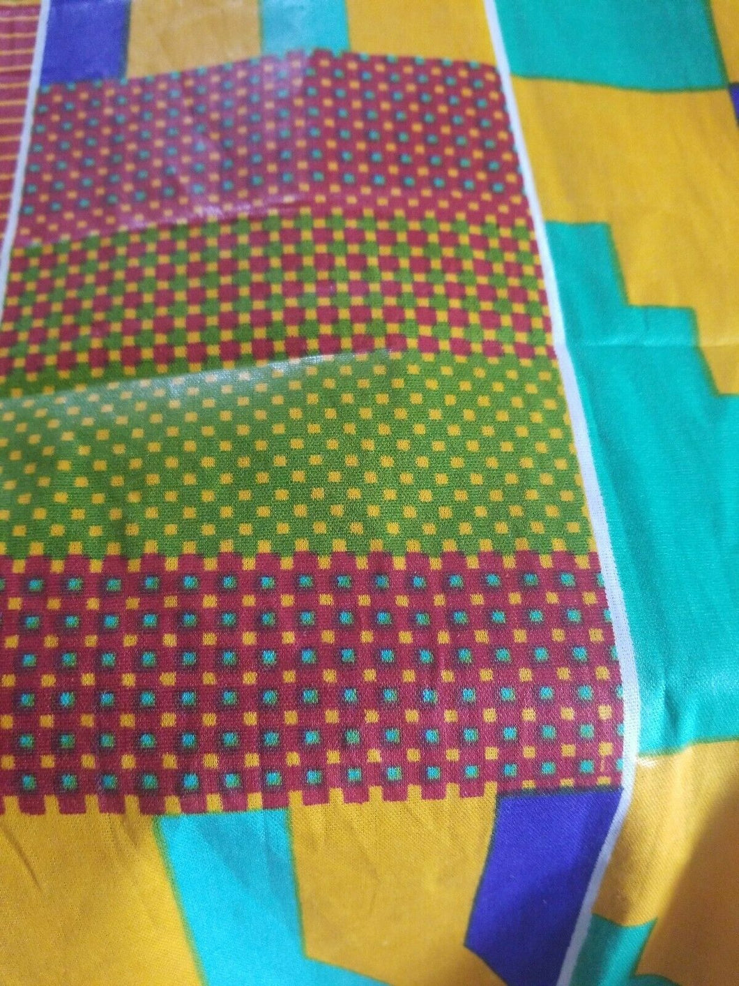 Kente Print African Wax Print 100% Cotton Fabric ~ 5yds and 33.5